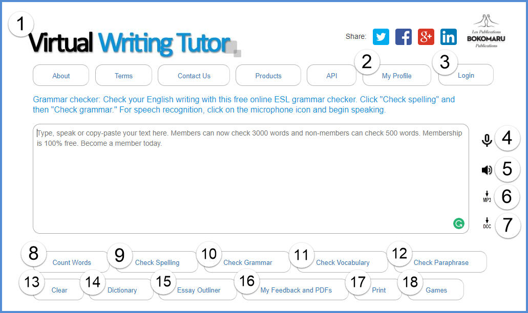Grammar and punctuation checker: VirtualWritingTutor.com