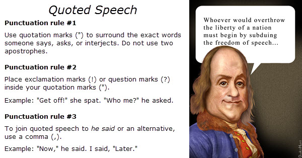 Quoted speech punctuation rules