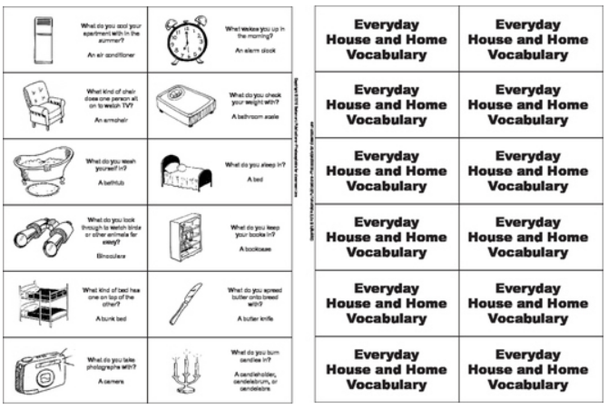 Printable Illustrated Everyday Vocabulary Learning Game